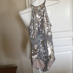Balera Dancewear M Silver sequins sheer panels MA